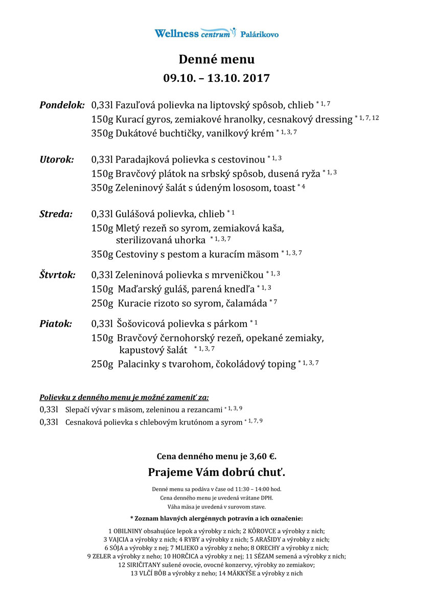 1e3b8d1399 Denné menu od 9.10.2017 do 13.10.2017 » Poľno SME